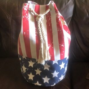 Handbags - Red White Blue Duffle Tote Bag NEW Drawstring!